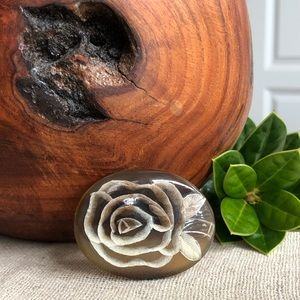 Vintage Carved Flower on Stone (?) Brooch